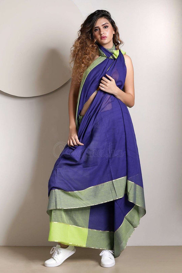 Cobalt Blue Pure Cotton Saree With Zari Cotton Threads Of India Roopkatha - A Story of Art