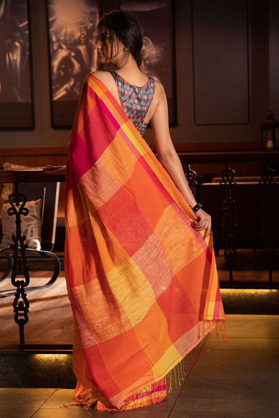 Yellow & Fuchsia Checkered Pure Cotton Saree