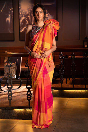 Yellow & Fuchsia Checkered Pure Cotton Saree Cotton Threads Of India Roopkatha - A Story of Art