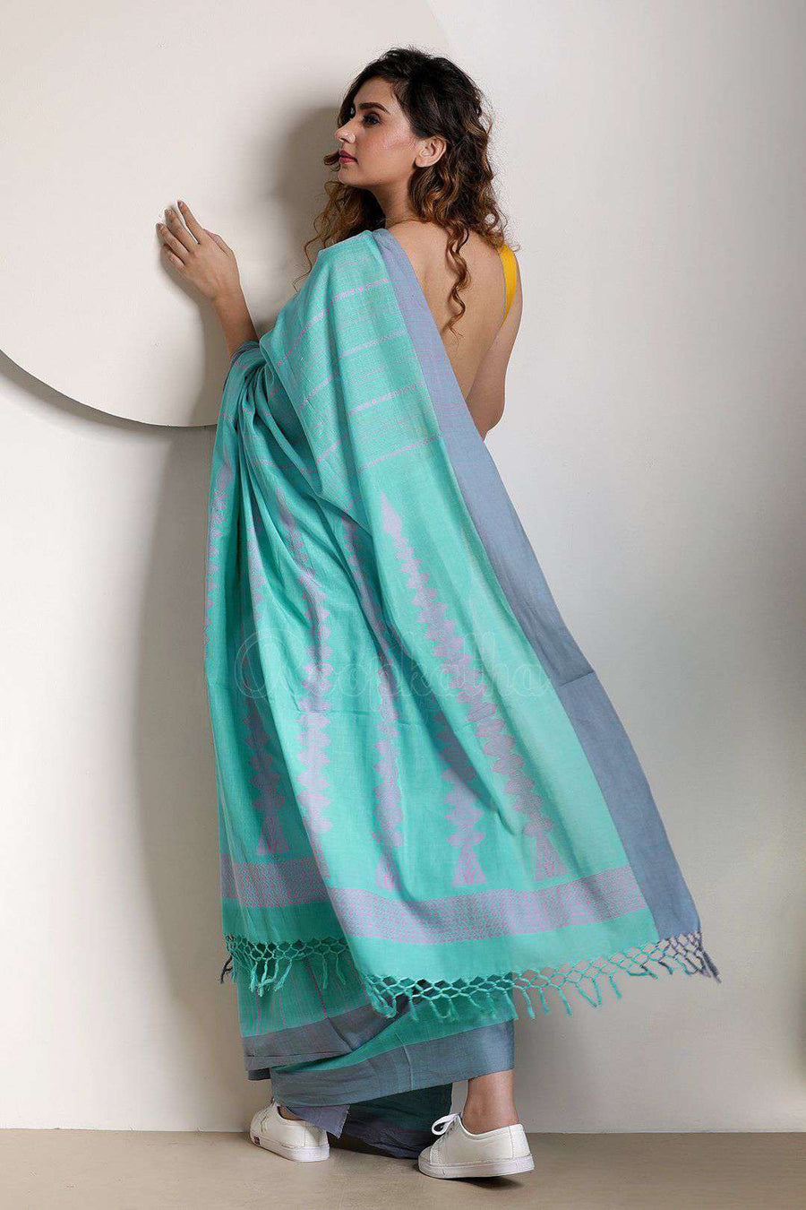 Maya Blue Pure Cotton Saree With Plain Border