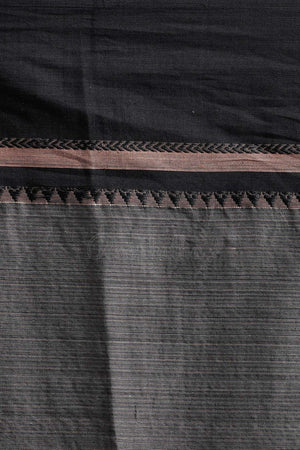 Anchor Grey Pure Cotton Saree With Soot Black Border