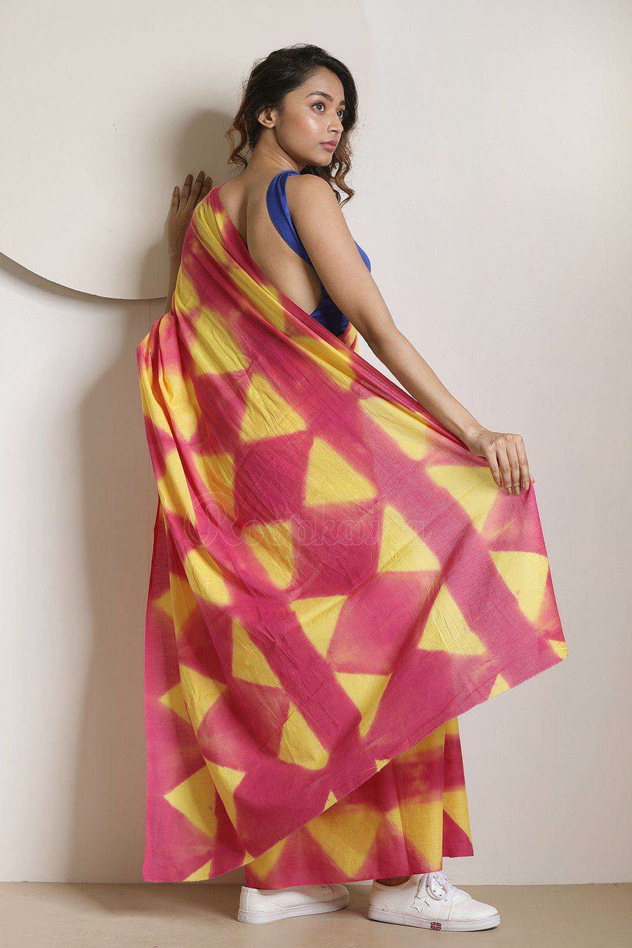 Magenta & Yellow Pure Cotton Saree