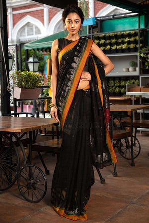 Black Organic Linen Saree With Jamdani Pallu Earthen Collection Roopkatha - A Story of Art