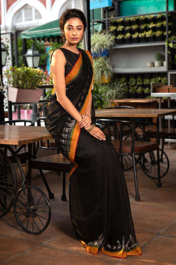 black organic linen saree with jamdani pallu