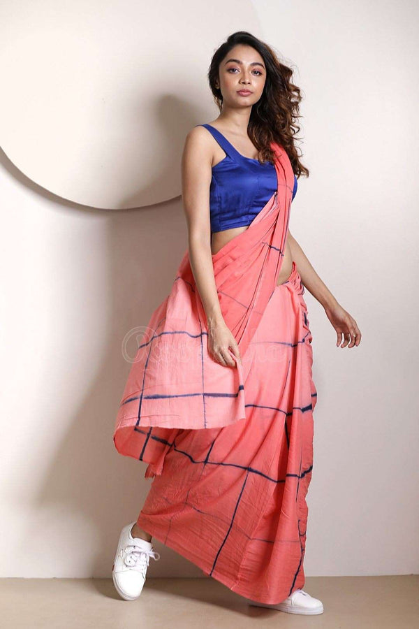 Coral Pink Pure Cotton Saree With Tie-Dye