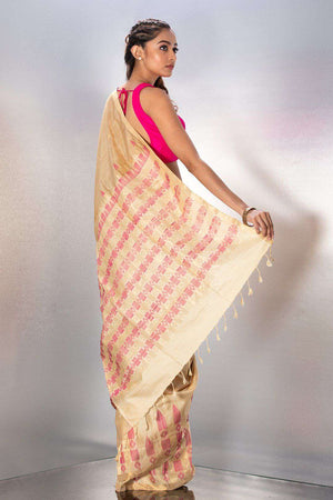 Beige Handwoven Silk With Woven Design
