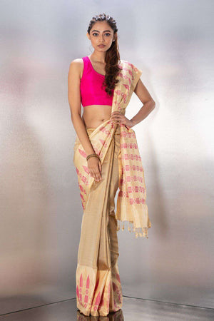 Beige Handloom Silk With Woven Design