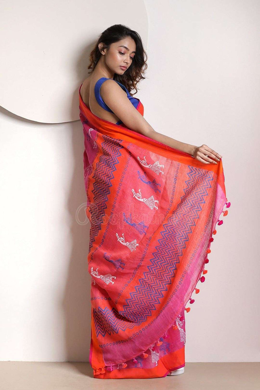 Fuscia Pink Linen Saree With Orange Border