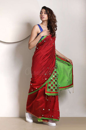 Red & Green Blended Cotton Saree With Cut-Work Akasha Roopkatha - A Story of Art