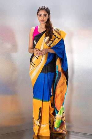 Black Handpainted Tusser Silk Saree