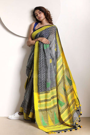 Porpoise Grey Linen Saree With Yellow Pallu
