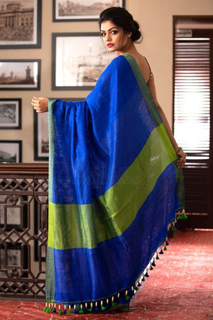 Blue Matka Resham Silk Saree With Green Border