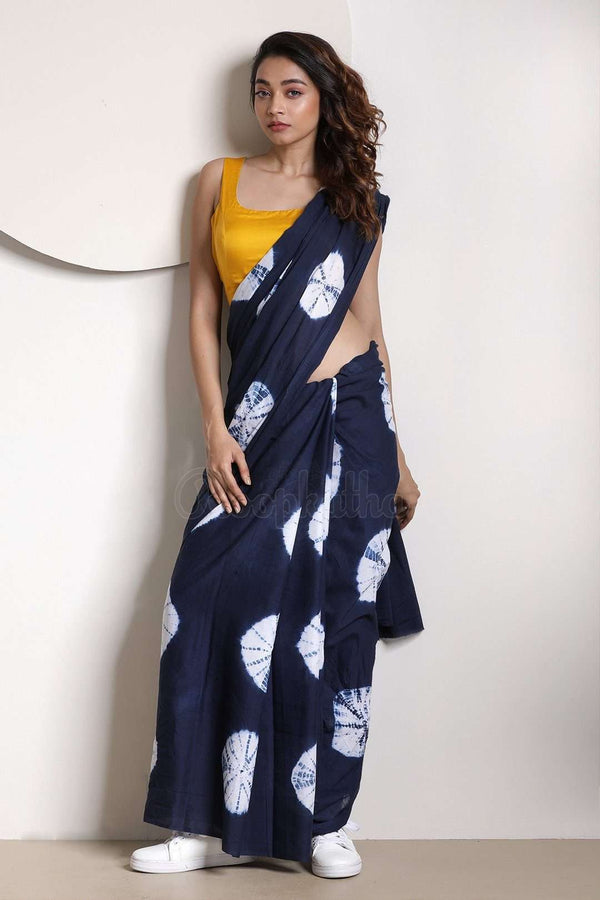 Space Blue Tie-&-Dye Pure Cotton Saree