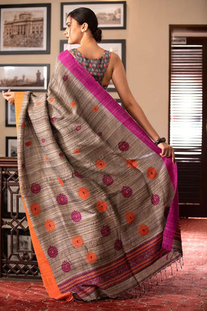 Ghicha Silk Cotton Saree With Floral Design Cotton Threads Of India Roopkatha - A Story of Art