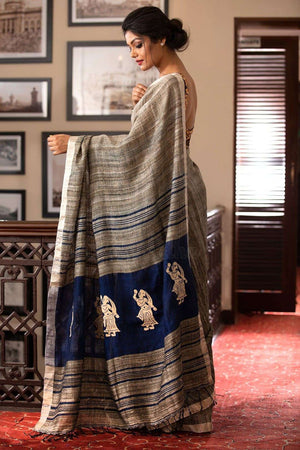 Ghicha Linen Saree With Applique Work Earthen Collection Roopkatha - A Story of Art