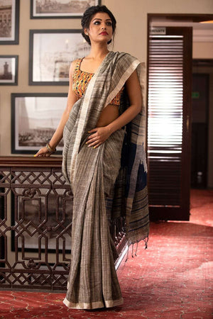 ghicha linen saree with applique work