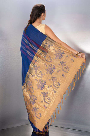 Blue Handloom Silk Saree