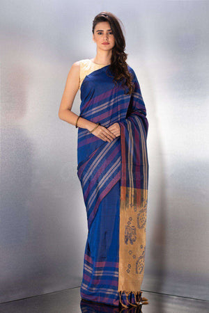 Blue Handloom Silk Saree Kriti Classics Roopkatha - A Story of Art