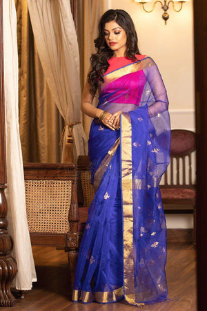 Blue Handloom Silk Saree With Jacquard Weaving