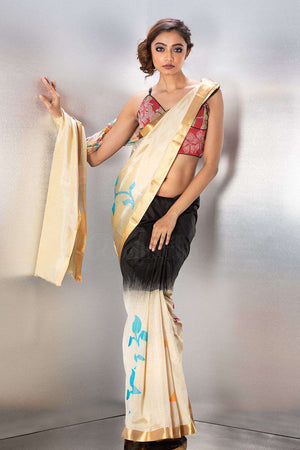 Black Handloom Silk Saree