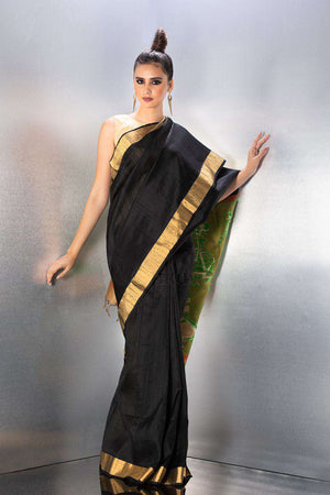Black Tusser Silk Saree With Green Pallu