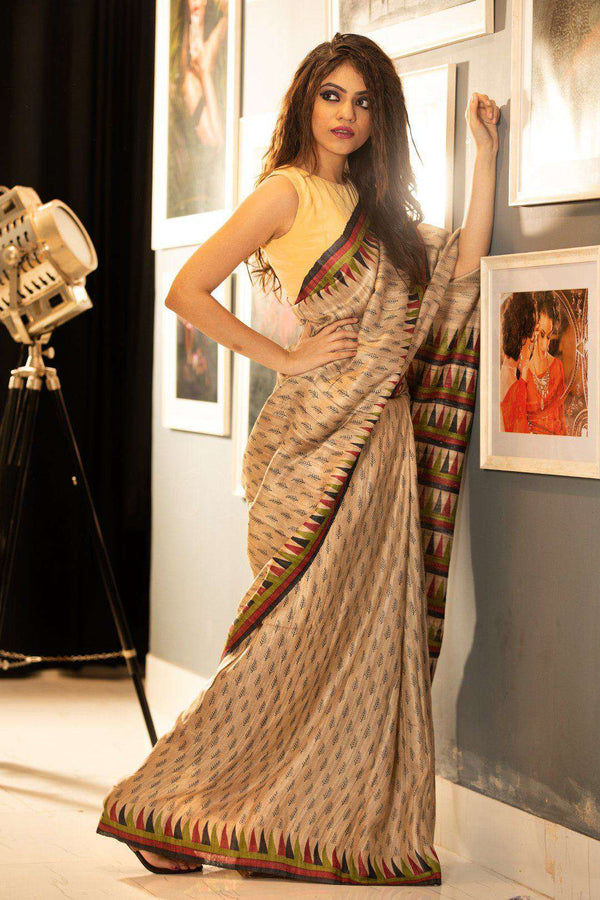 Tusser Silk Saree With Block Print