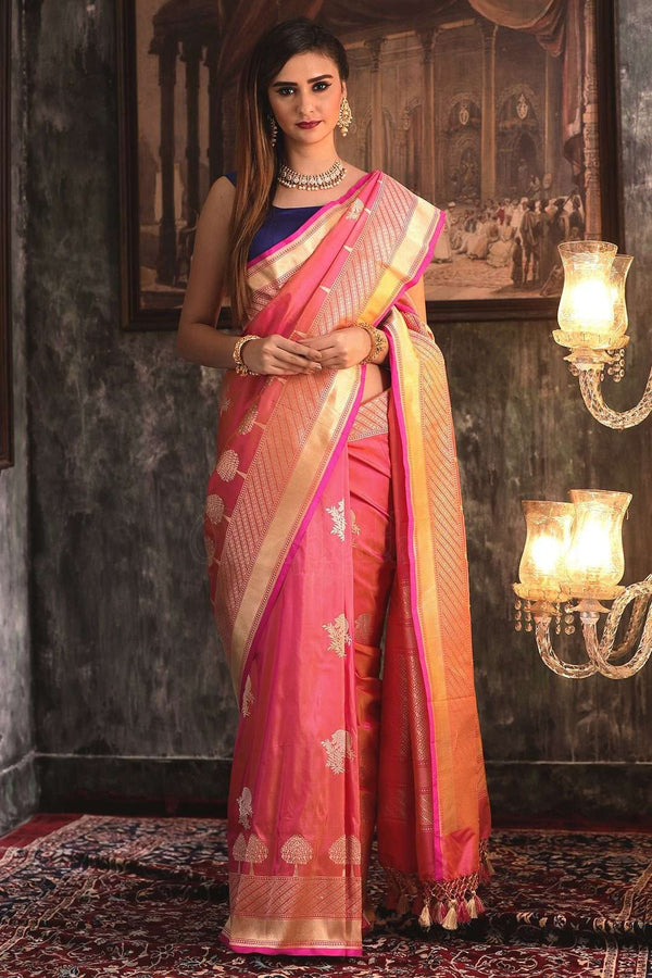 Watermelon Pink Handwoven Pure Katan Silk Saree With Zari VARANASI CHRONICLES Roopkatha - A Story of Art