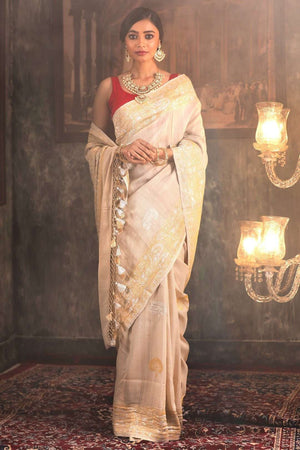 Beige Pure Tusser Handwoven Saree With Zari VARANASI CHRONICLES Roopkatha - A Story of Art