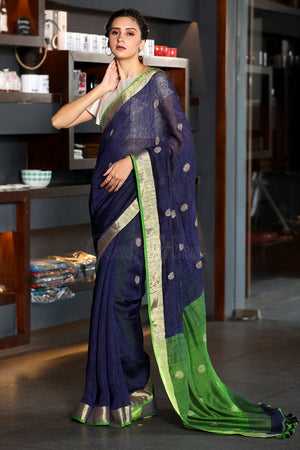 Midnight Blue Linen Saree with Green Pallu and Polka Weave