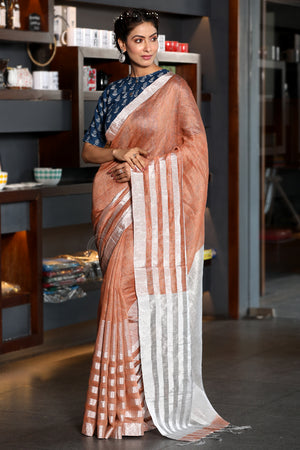 Salmon Orange Mixed Linen Saree with Zari
