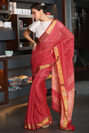 Roselle Textured Linen Saree with Zari