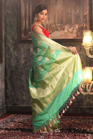 Pale Green Handwoven Pure Katan Silk Saree With Zari VARANASI CHRONICLES Roopkatha - A Story of Art