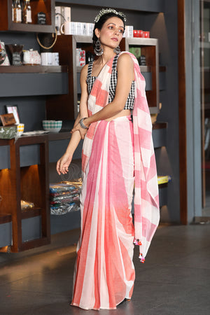 Offwhite Cotton Saree With Pink and Coral Ombre Stripes