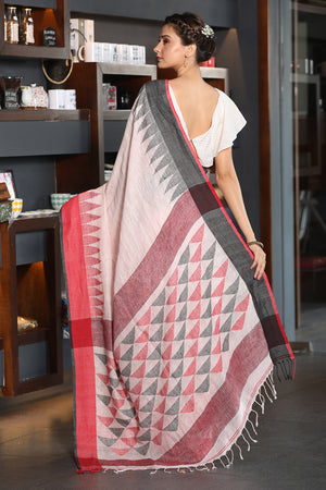Off White Linen Saree with Red and Black Temple Border