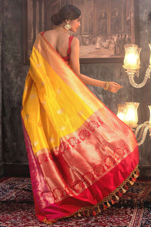 Yellow Handwoven Katan Silk Saree With Zari VARANASI CHRONICLES Roopkatha - A Story of Art