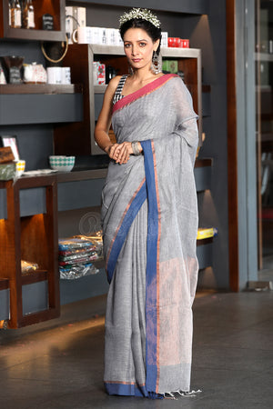 Smoke Grey Linen Saree With Dual Color Border
