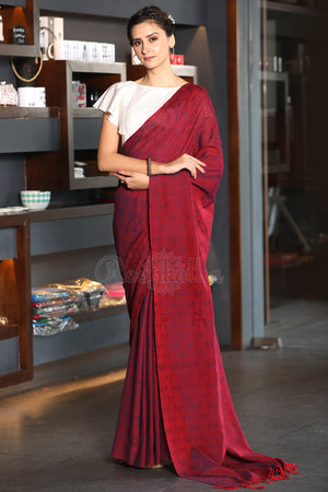 Berry Red Textured Weave Cotton Saree