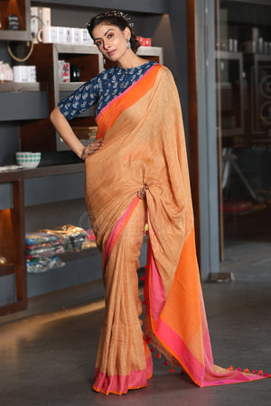 Latte Linen Saree with Dual Color Border