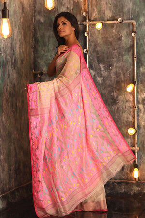 Beige Jamdani Saree With Pink Thread Work