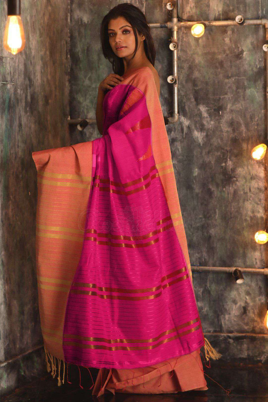 Fuchsia Blended Cotton Saree With Broad Border Akasha Roopkatha - A Story of Art