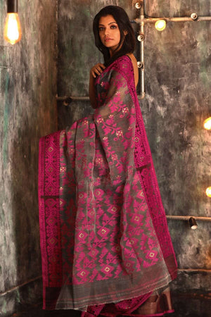 Grey Jamdani Saree With Pink Thread Work Jamdani Weave Roopkatha - A Story of Art