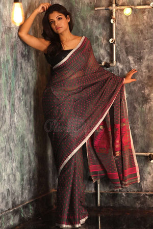 Grey Jamdani Saree With Thread Work Jamdani Weave Roopkatha - A Story of Art