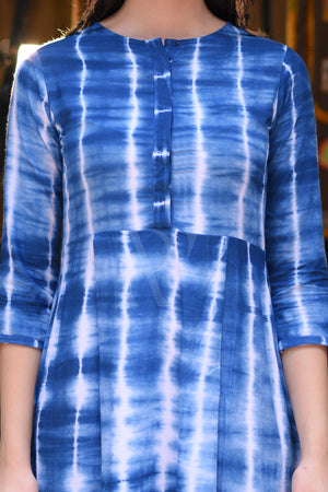 Blue Tie & Dye Asymmetric Dress
