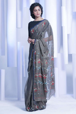 Brown Pure Cotton Saree With Woven Border Cotton Threads Of India Roopkatha - A Story of Art