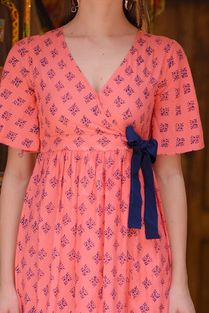 Coral Printed Tunic With Bow-Tie