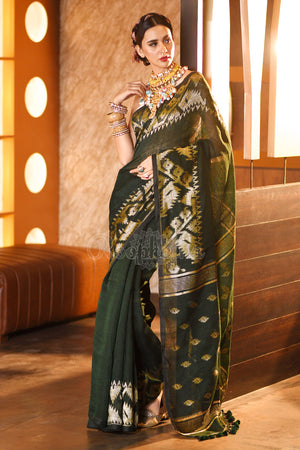 Seaweed Green Linen Saree With Woven Zari