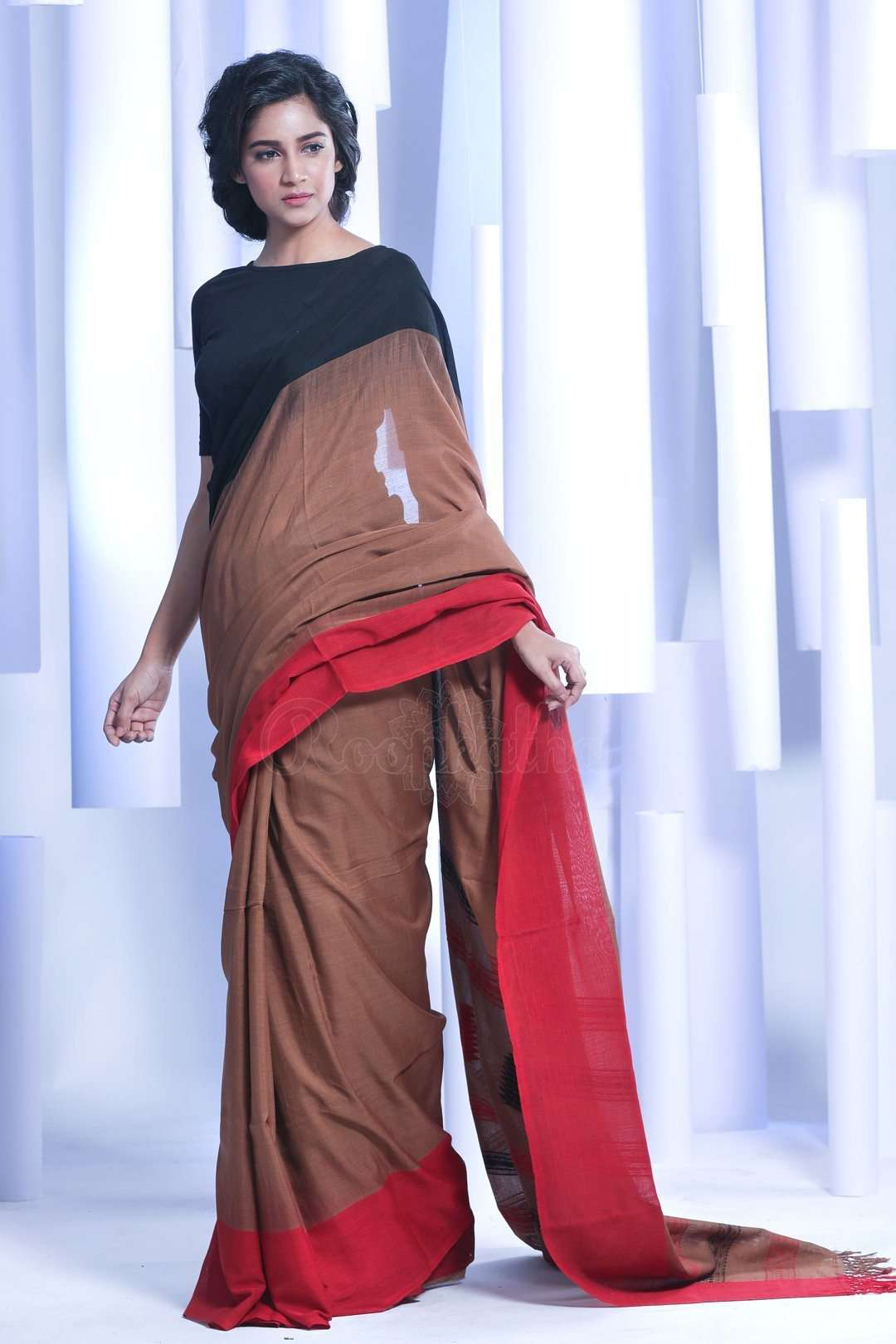 1a2b1ef954 Brown Pure Cotton Saree With Dual Border Cotton Threads Of India Roopkatha  - A Story of