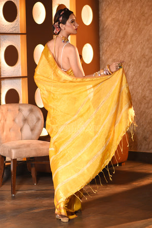 Bumblebee Yellow Tissue Linen Saree With Gheecha Striped Pallu