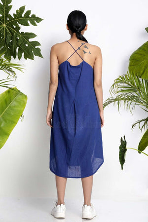Blue Handwoven Tunic With Spaghetti Straps