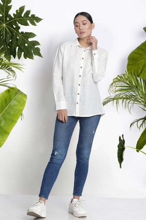White Handwoven Linen Shirt Rivka Roopkatha - A Story of Art